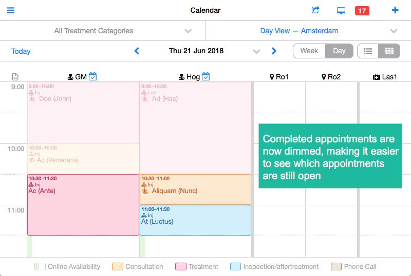 dimmed calendar